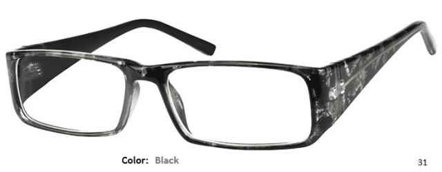 PLASTIC FRAME-RECTANGLE-Full Rim-Custom Reading Glasses-CE0362
