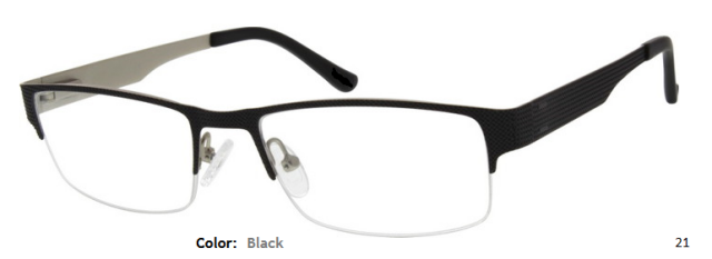 STAINLESS STEEL FRAME-RECTANGLE-HALF RIM-Spring Hinges-Custom Reading Glasses-CE4604