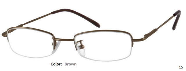 METAL/STAINLESS STEEL FRAME-RECTANGLE-HALF RIM-Spring Hinges-Custom Reading Glasses-CE7464