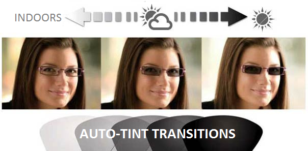 AUTO-TINT READING LENSES - TRANSITION FROM CLEAR LENSES INSIDE TO DARK OUTSIDE!